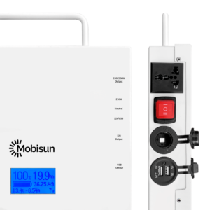 Mobisun Pro portable solar generator connections open