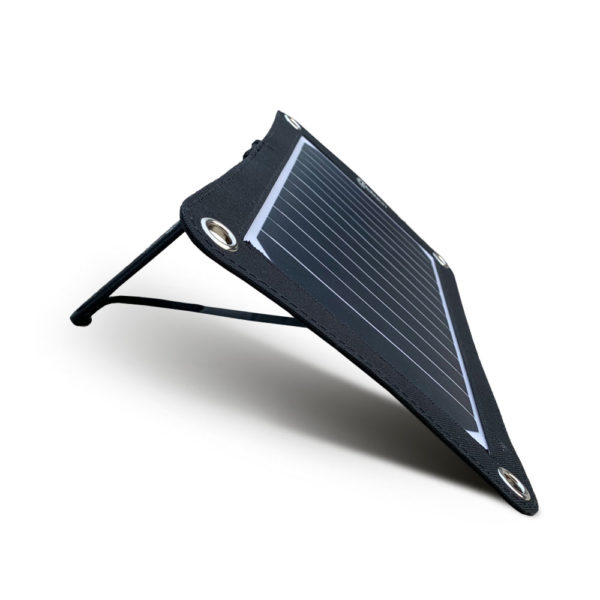 Mobisun lightweight 7,5W portable USB solar panel stand side