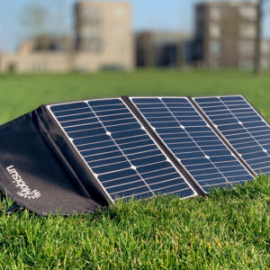 60W Mobisun portable solar panel outside parc